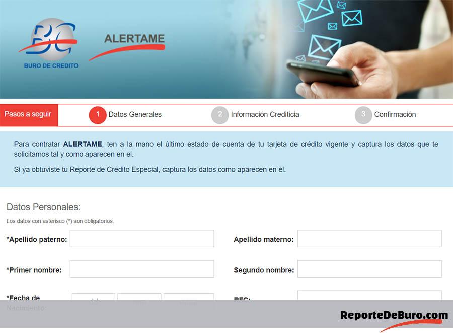 formulario para recibir alertas del buró de crédito